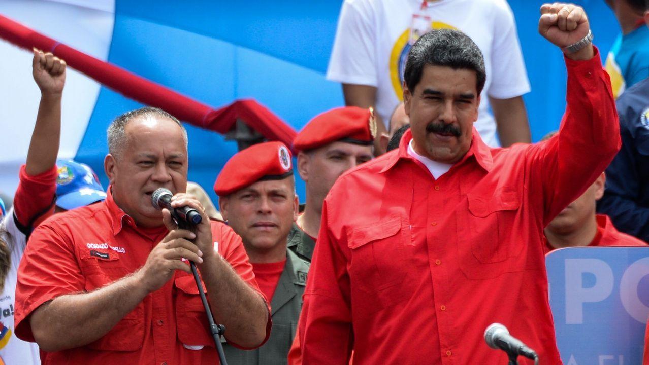 .Diosdado Cabello y Nicolás Maduro, durante el acto de cierre de campaña para la elección de la Asamblea Constituyente