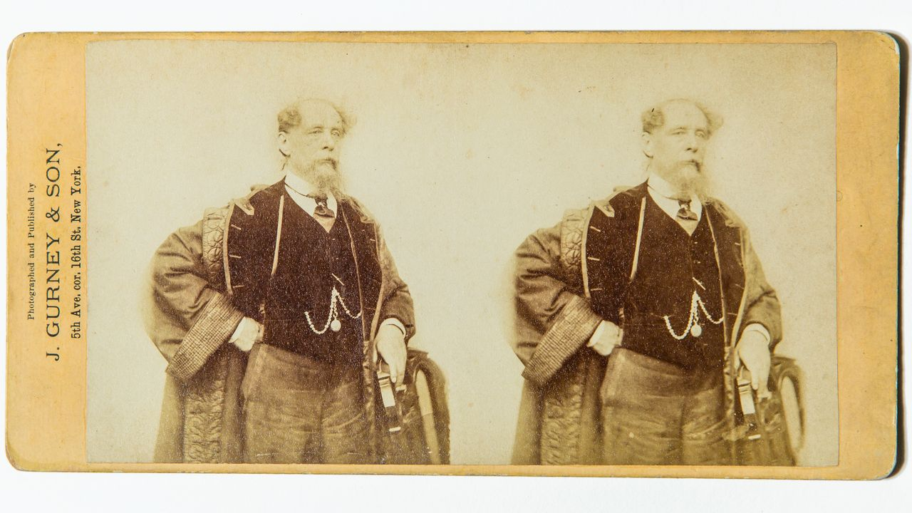 Imagen estereoscópica de Charles Dickens