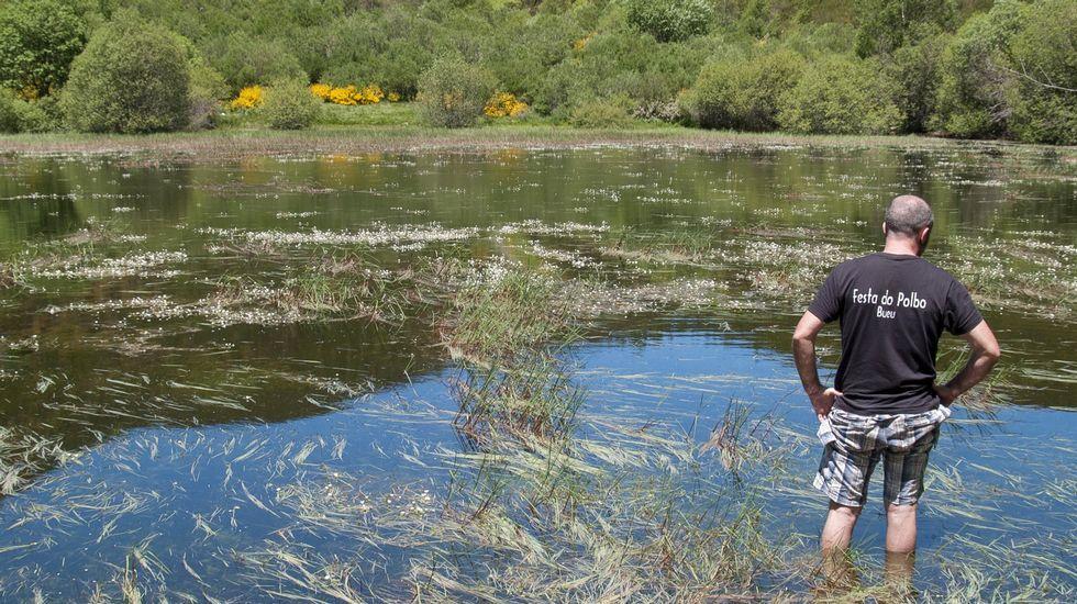 Una visita de miembros del club Senderismo Morrazo a la laguna de Lucenza en mayo del 2013