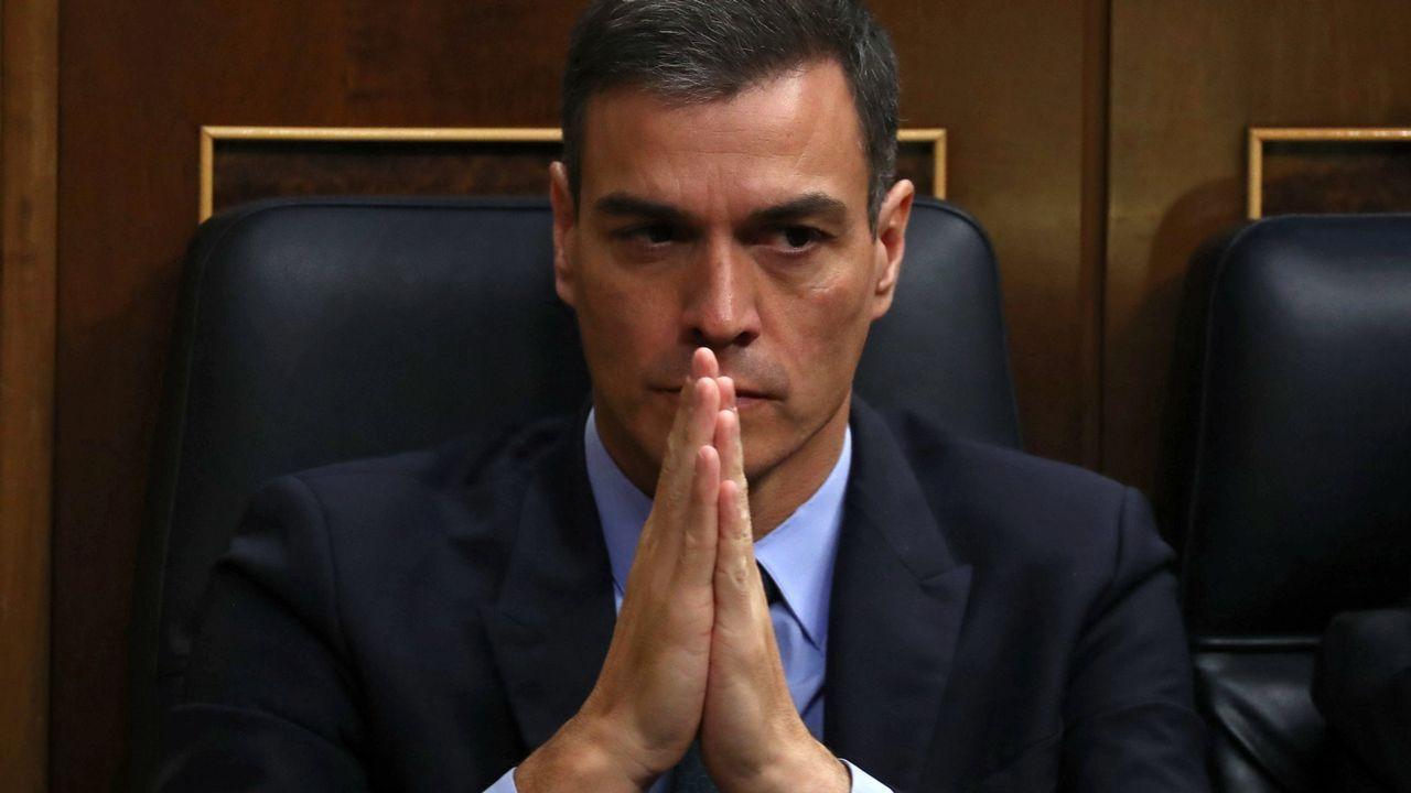El presidente del Gobierno, Pedro Sanchez, hoy en el Congreso de los Diputados