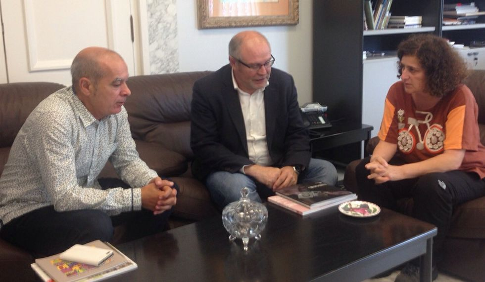 Regueira, Antelo y Sanmartín en la reunión de ayer en A Coruña.
