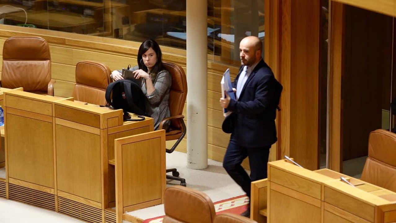 Paula Quinteiro y Luís Villares esta mañana en el Parlamento