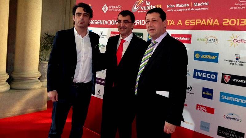 Así fue la presentación de la Vuelta a España 2013 en Vigo.Diego Calvo, Javier Guillén y José Manuel Traba