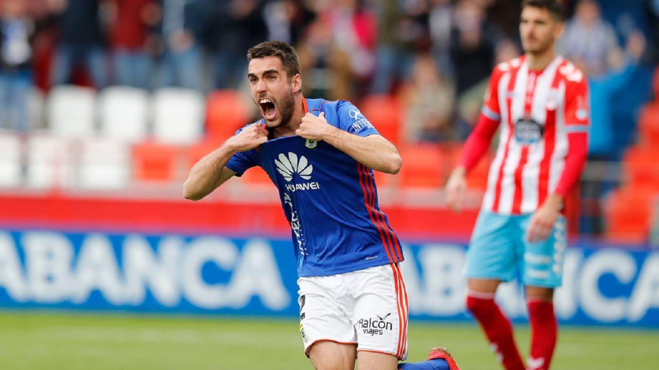 Gol Diegui Johannesson Lugo Real Oviedo Anxo Carro.Johannesson celebra su gol frente al Lugo