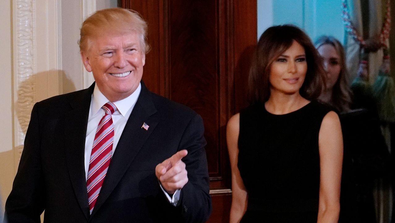 Duelo de estilo entre Melania Trump y Brigitte Macron.Donald y Melania Trump