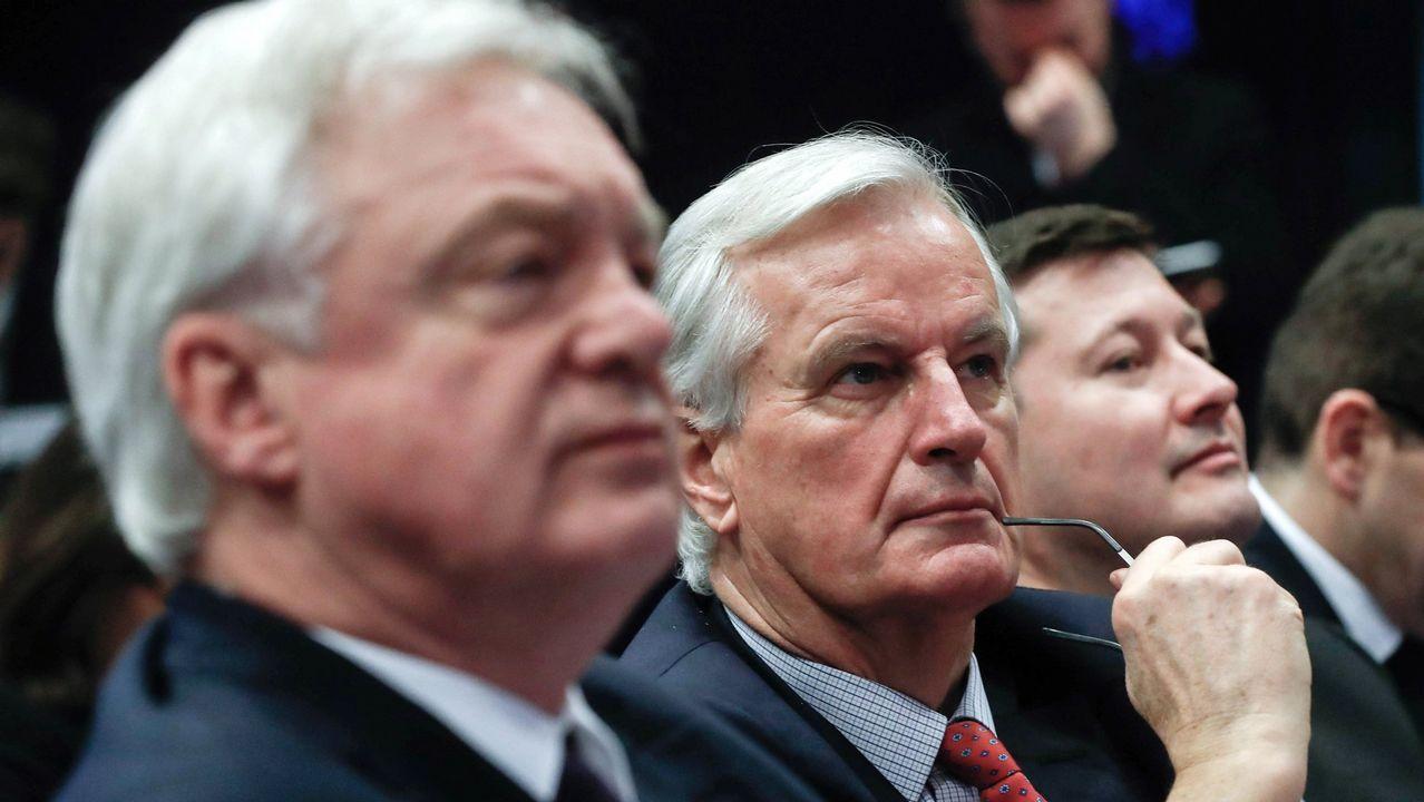 .Los negociadores Davis y Barnier, en diciembre