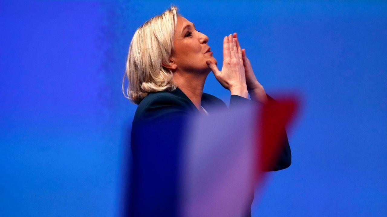 Dolomitas.Marine Le Pain, líder del Frente Nacional, durante la presentación de la campaña de su partido a las elecciones europeas