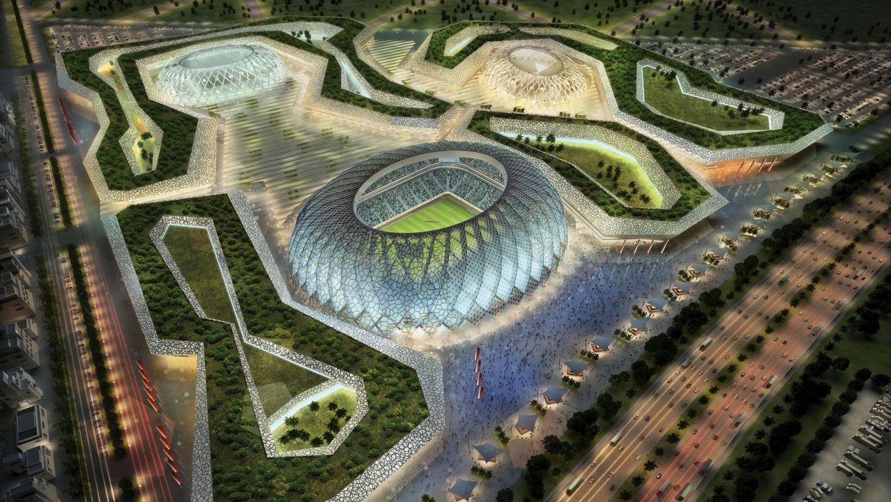 Imagen 3D creada por ordenador facilitada por el Comité de organización del Mundial de fútbol Qatar 2022 hoy, lunes, 6 de diciembre de 2010, que muestra la propuesta del que será el estadio Al-Wakrah de la ciudad qatarí de Al-Wakrah, una de las sedes del Mundial de fútbol Qatar 2022. El estadio Al-Wakrah tendrá capacidad para 45.120 personas.