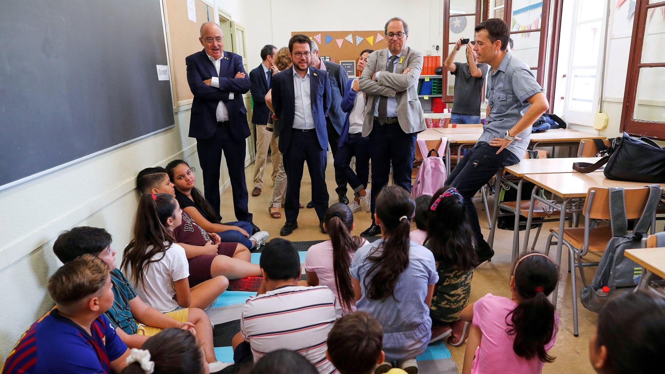 El president Quim Torra en una escuela infantil el primer día de curso