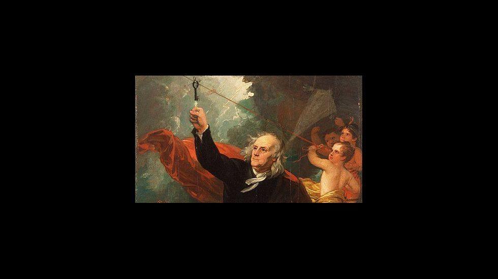 .«Benjamin Franklin Drawing Electricity from the Sky» (1816). Recreación del experimento de la cometa por el pintor estadounidense Benjamin West. Philadelphia Museum of Art