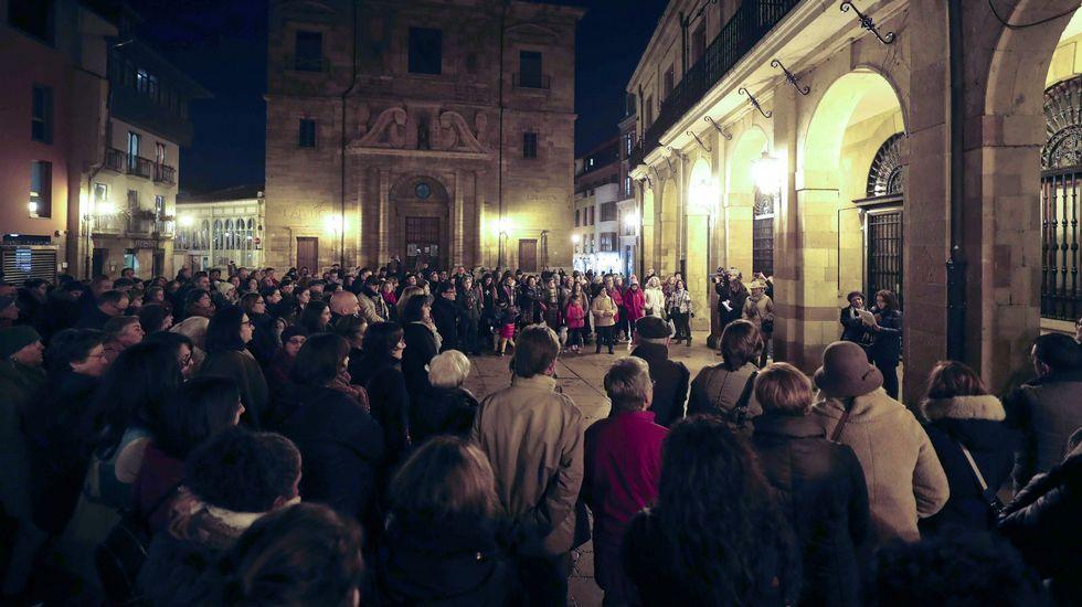 El Consejo de Igualdad de Oviedo convocó hoy en la plaza del Ayuntamiento una concentración bajo el lema  Nuestros derechos no se negocian. ¡Ni un paso atrás en igualdad