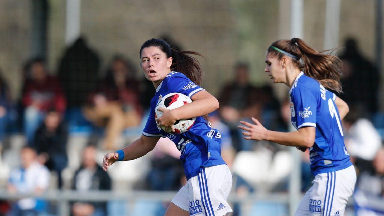 Maria Mendez Carol Gonzalez Real Oviedo Femenino Deportivo Feminas Requexon.María Méndez y Carol González, durante el encuentro ante el Deportivo Féminas