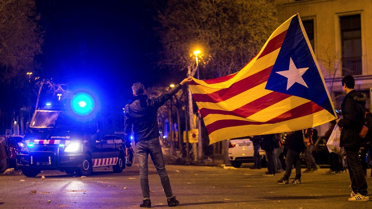 Disturbios durante las protestas en Barcelona