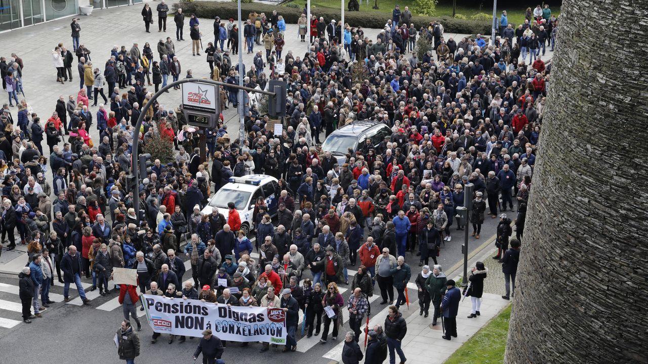 Los pensionistas también protestaron en Lugo