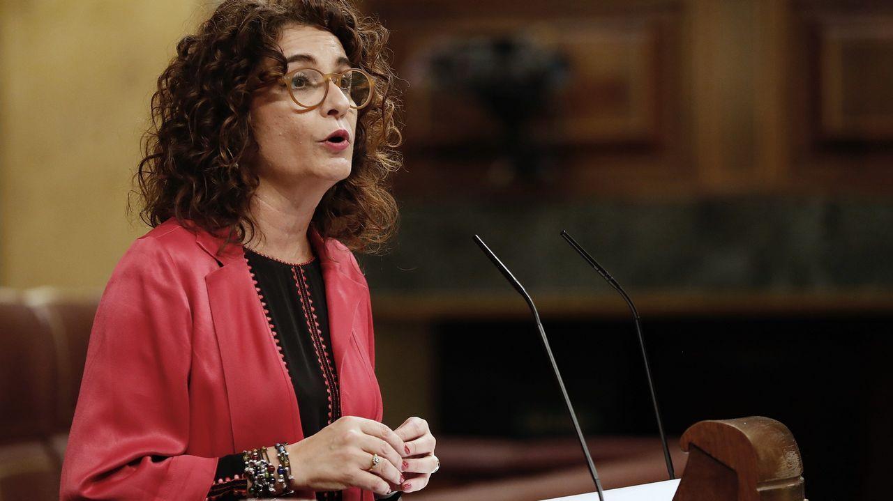 La ministra de Hacienda, María Jesús Montero, durante su intervención en el Congreso
