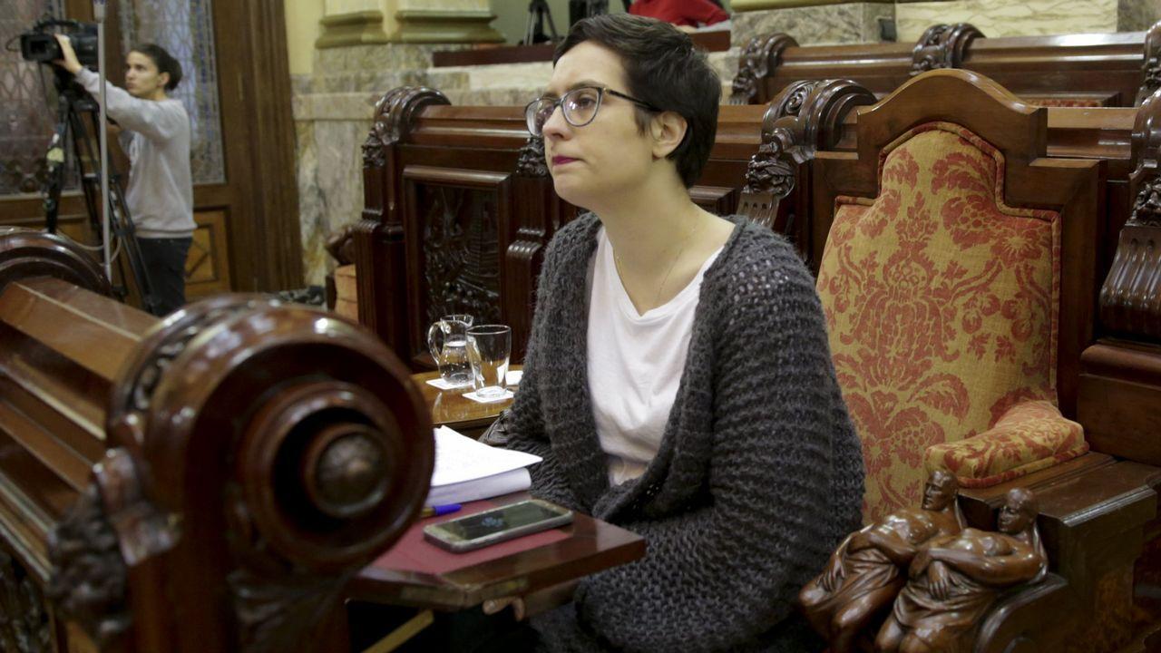 Así quedará el complejo deportivo municipal de Campolongo.Isabel Álvarez, de azul, en el centro de la imagen, durante una concentración de la plataforma de afectados de iDental en Gijón