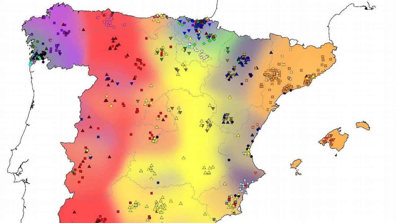 mascaraque.Mapa genético de España. Galicia, en azul, presenta el mayor aislamiento genético entre poblaciones.