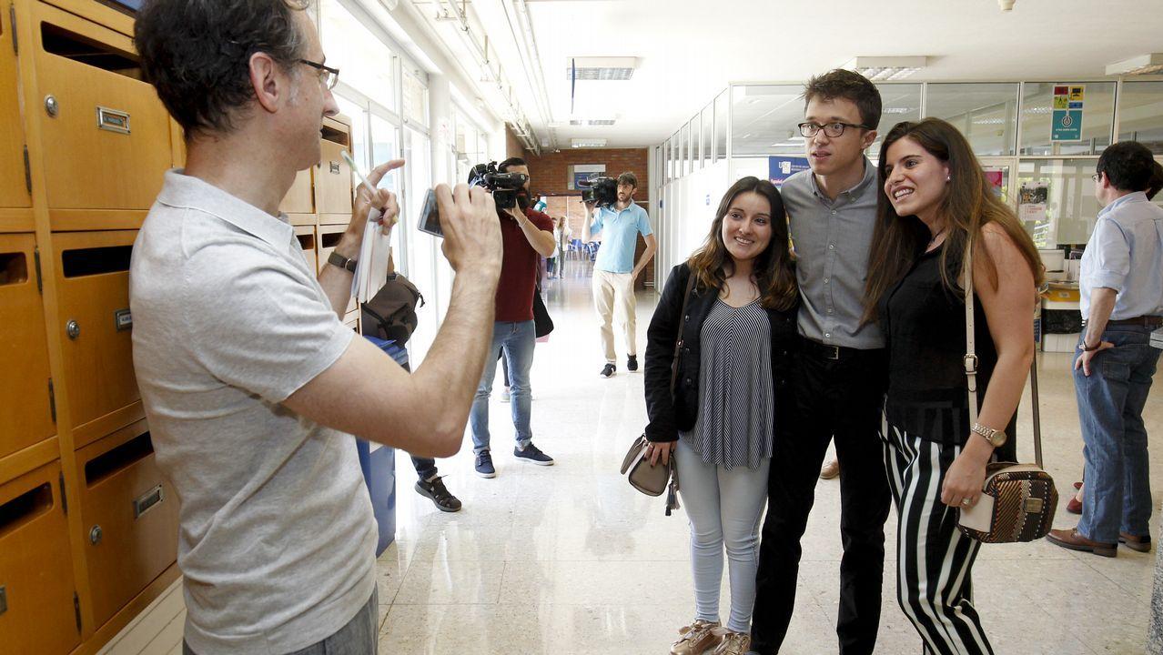 .Errejón, durante su vista a la Facultad de Ciencias Políticas de Santiago, donde impartió una conferencia