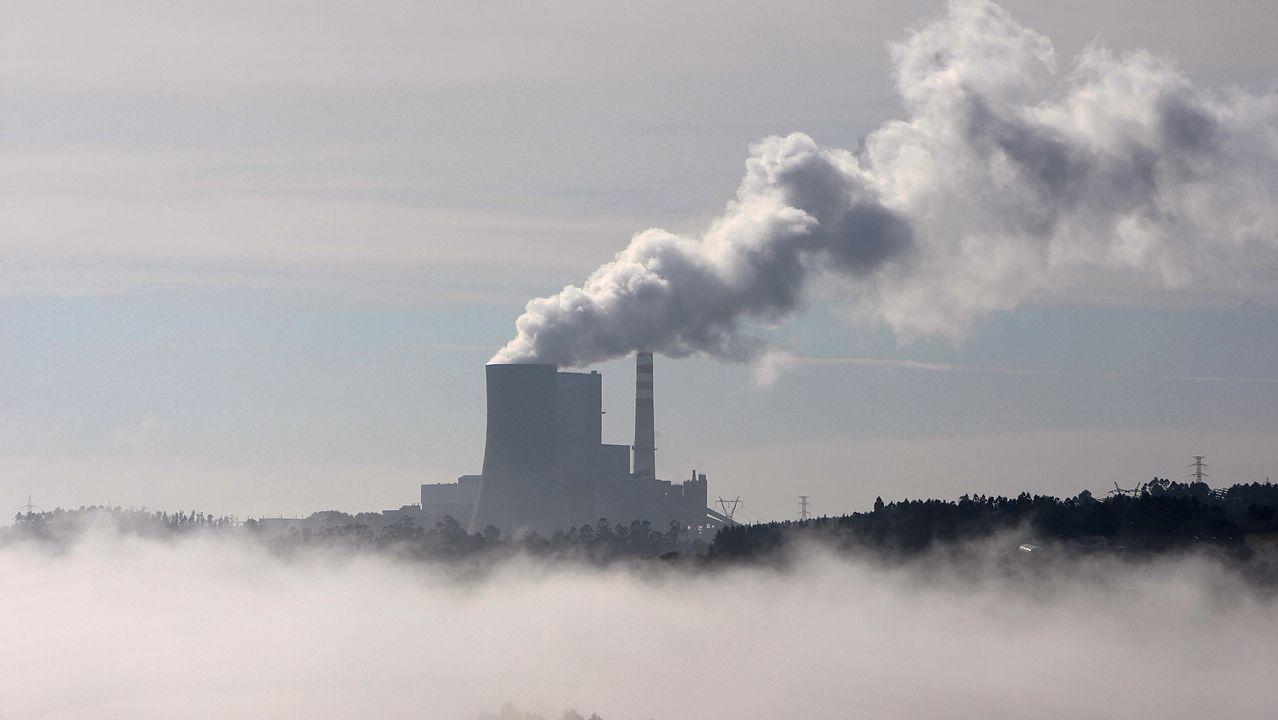 Activistas de Greenpeace escalan la torre de la central térmica de Meirama.Domínguez Lino asegura que antes del primer trimestre del 2019 producirán compost.
