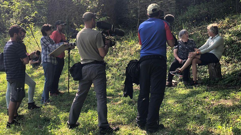 Un momento del primer día de rodaje del episodio de Volando Voy dedicado a la Serra do Courel