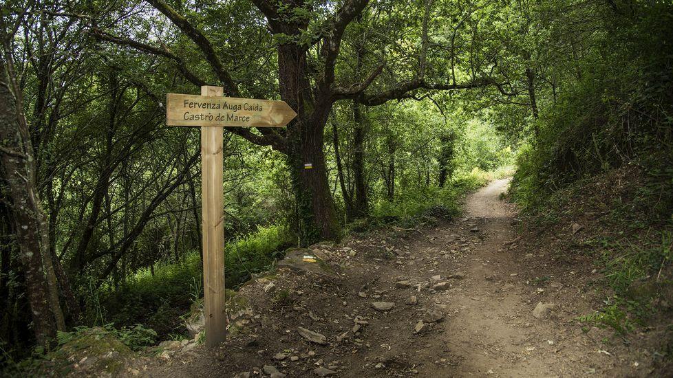 Un letrero indicador en el camino que lleva a la cascada y al castro