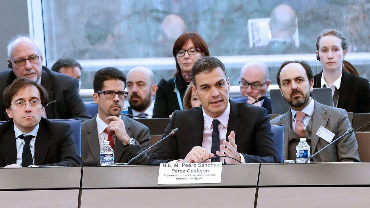Sánchez arranca desde la Moncloa la campaña para las elecciones del 28 de abril.Sánchez, en su intervención en el comité de ministros del Consejo de Europa, en Estrasburgo