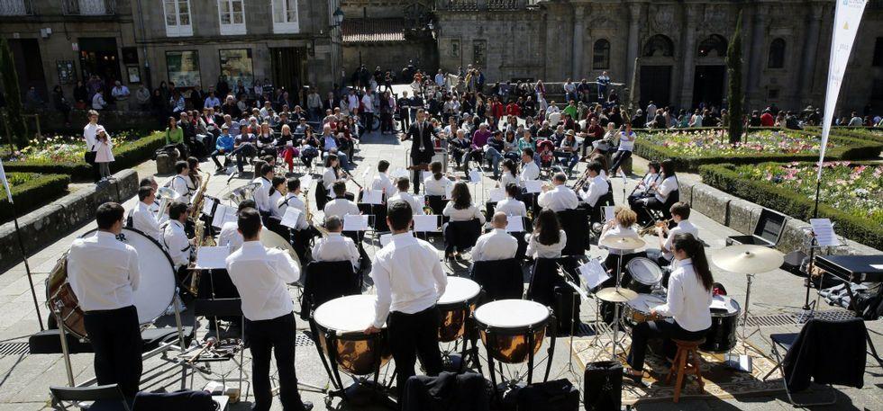 .La Unión Musical de Coruxo estrenó el Música no Camiño el pasado 5 de abril.