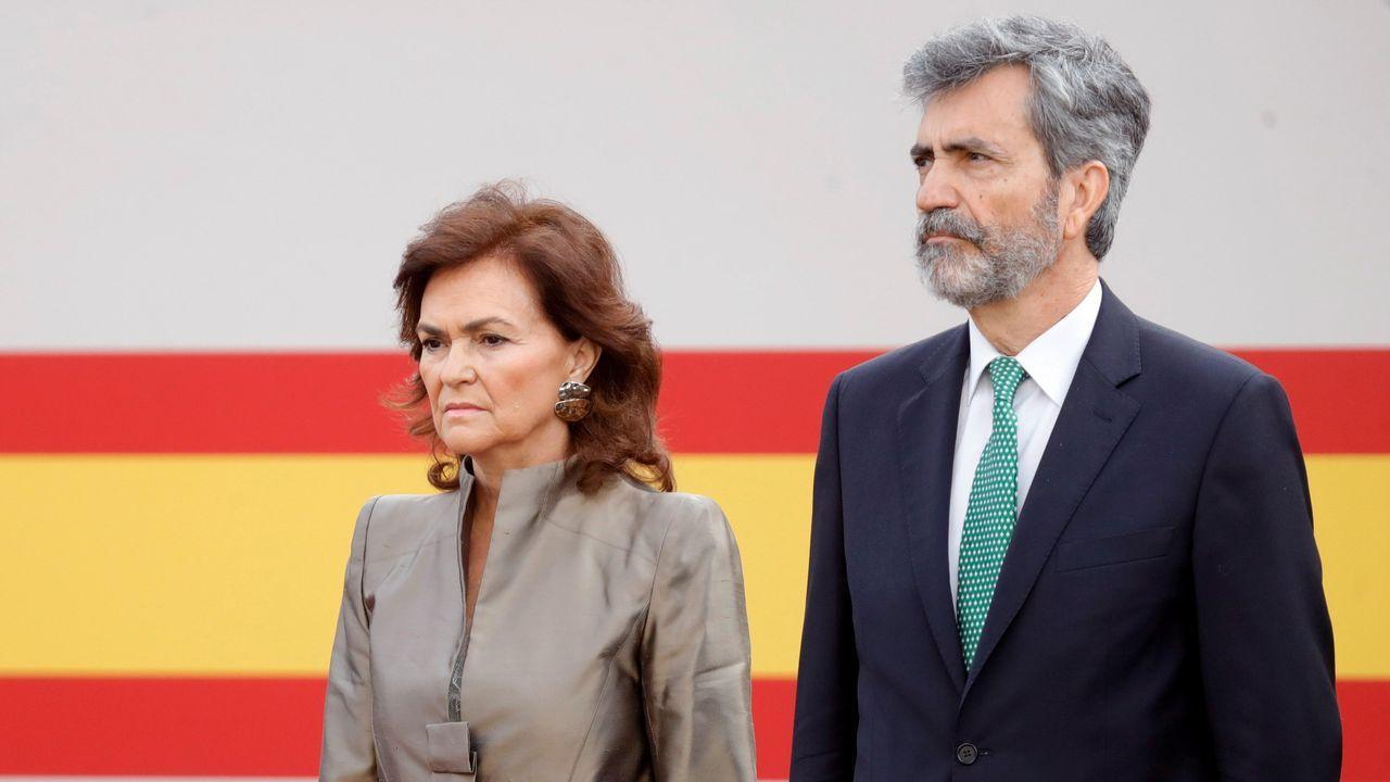 Desfile del Dia de la Fiesta Nacional: Carmen Calvo y Carlos Lesmes
