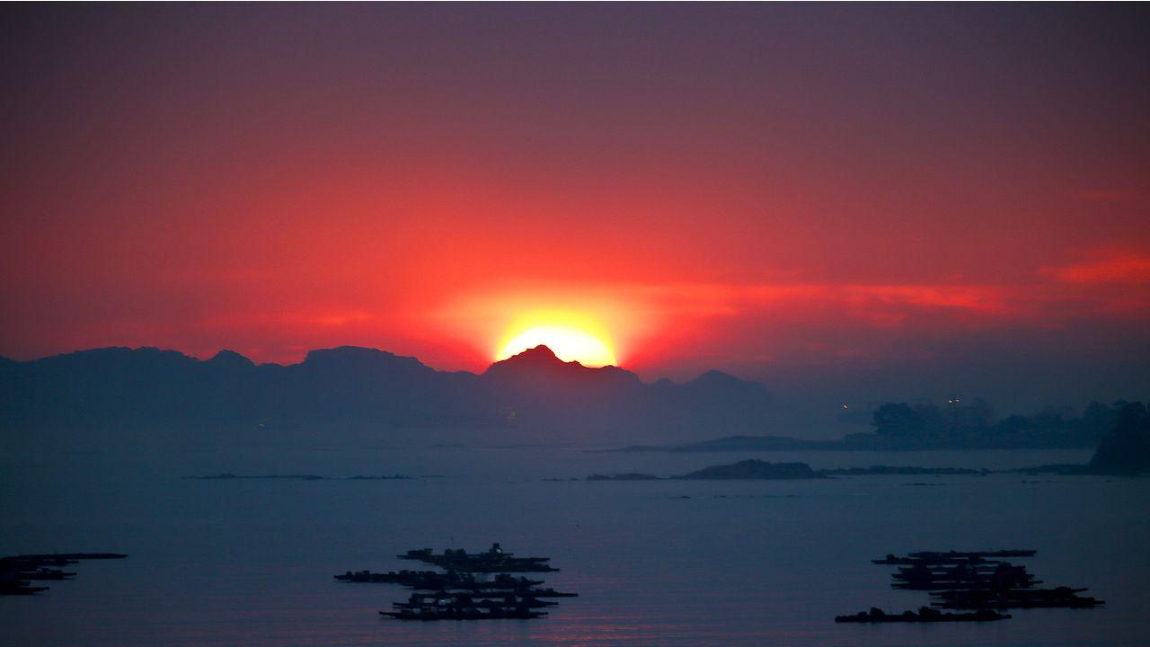 Puesta de sol en Moaña el pasado 19 de noviembre