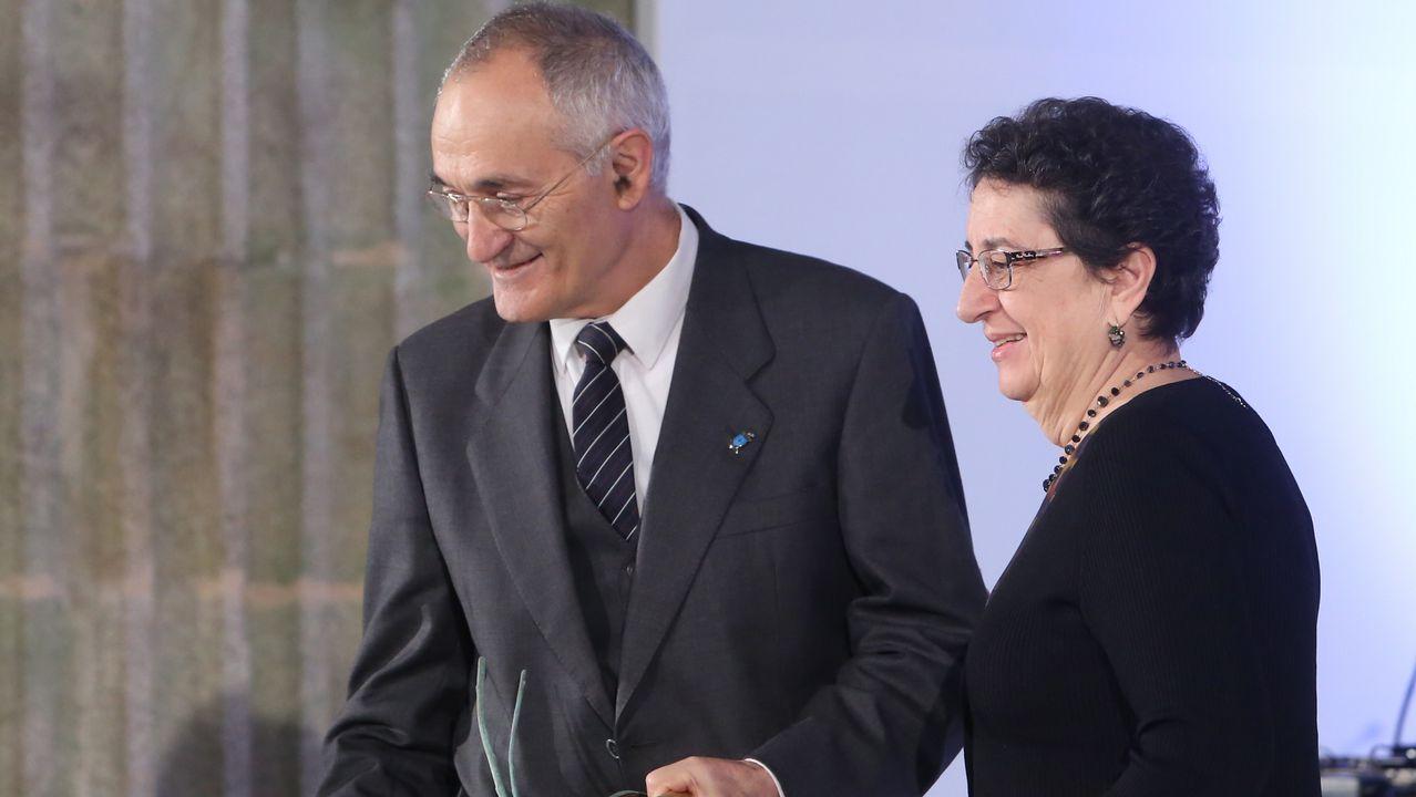 Antón Santamarina recolleu o premio de mans de Rosario Álvarez, presidenta do Consello da Cultura Galega