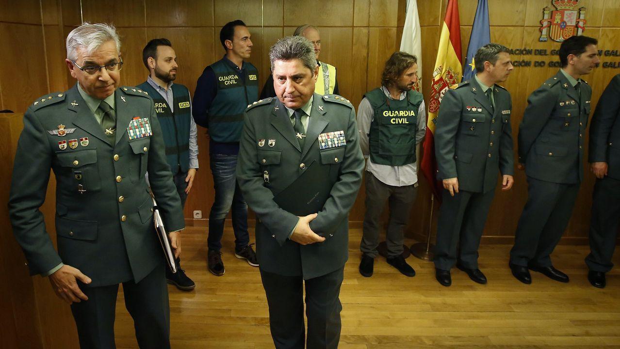 .Sánchez Corbí (a la izquierda) el 2 de enero en A Coruña, donde explicó cómo habían detenido al Chicle
