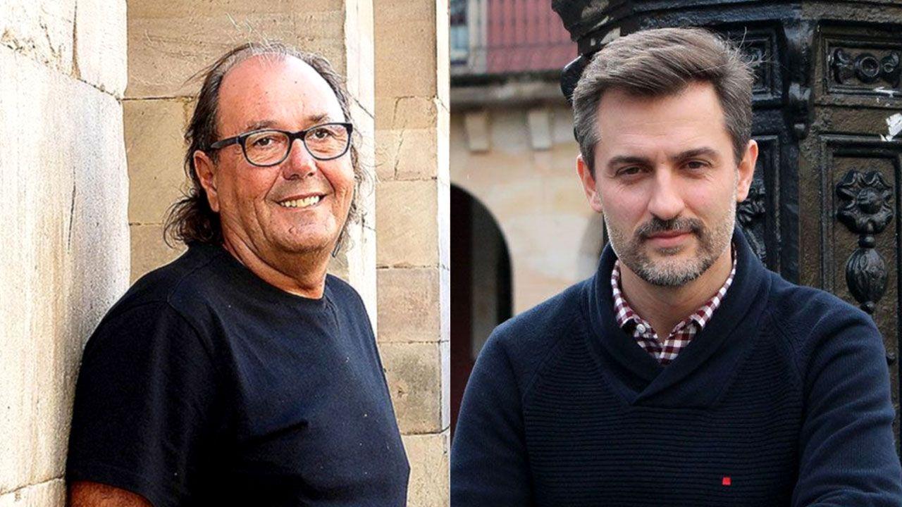 Juan Carlos Rodríguez Ibarra, junto a Felipe González, en la presentación de un libro.Mario Suárez del Fueyo y José María Pérez