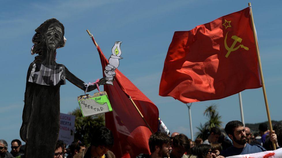 Manifestación ante el conservatorio de música del Principado.Manifestación de CSI, SUATEA, CNY y CGT, por el Primero de Mayo, en Gijón