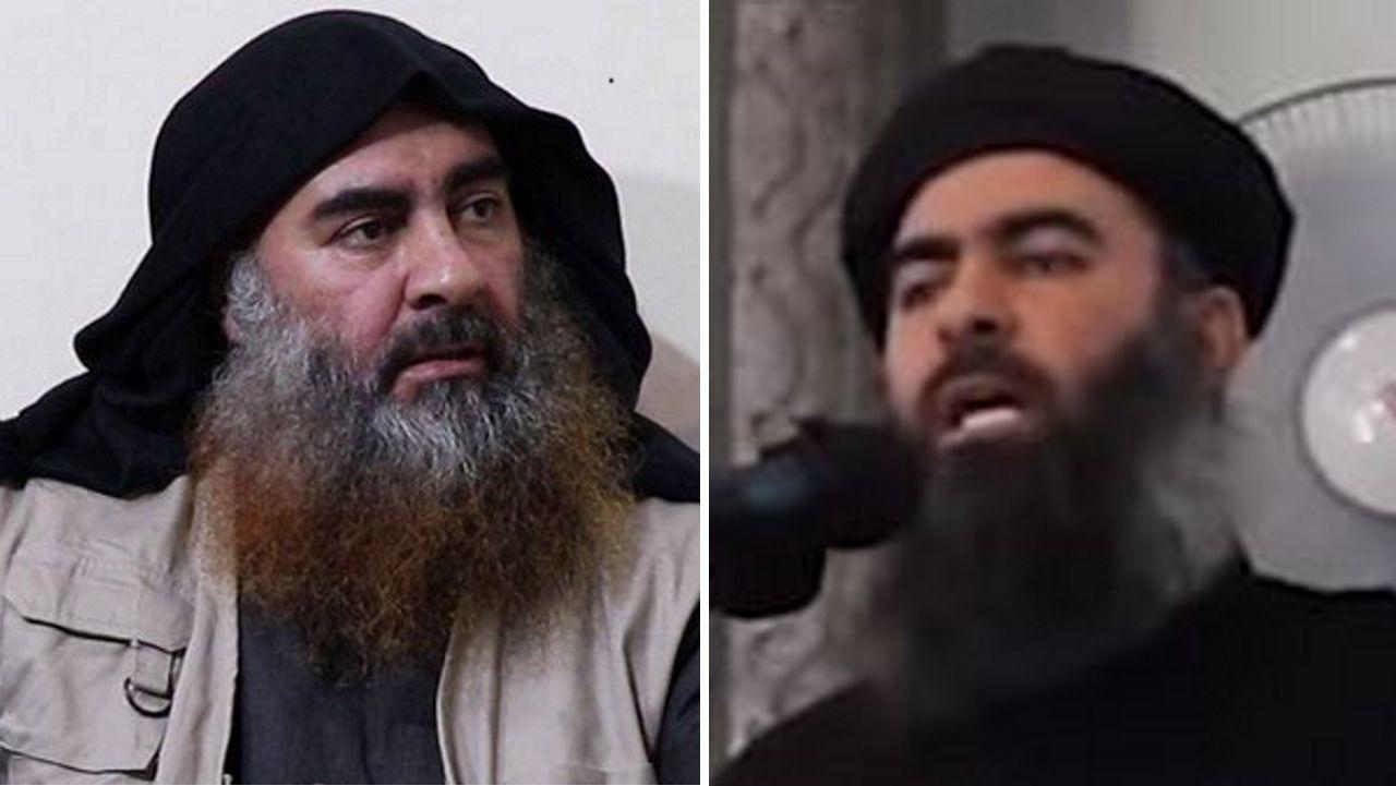 A la izquierda, Bagdadi en su imagen más reciente, difundida en un vídeo del Estado Islámico; a la derecha, en una grabación del 2014