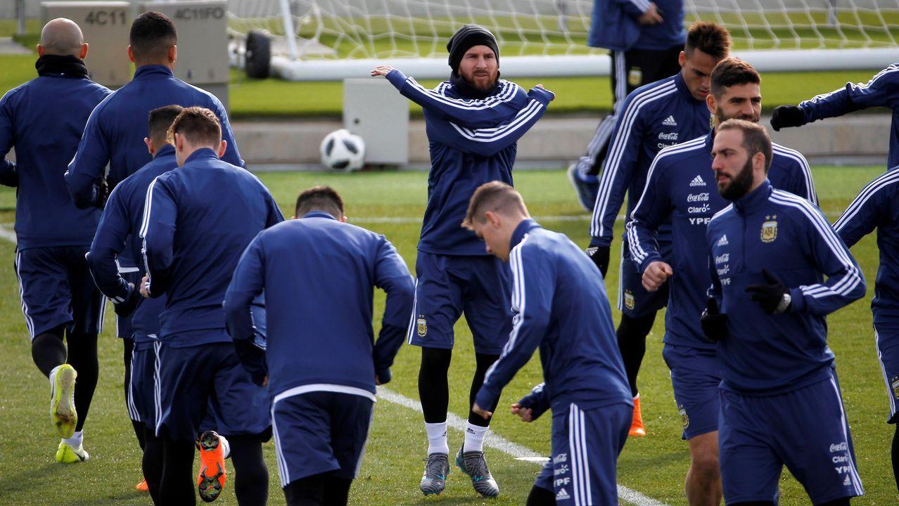.Messi se entrenó ayer en la ciudad deportiva del Madrid, en Valdebebas