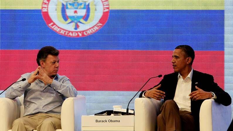 El paso de la tormenta «Isaac» por el Caribe.El presidente de Colombia, Juan Manuel Santos, junto a su homólogo estadounidense, Barack Obama