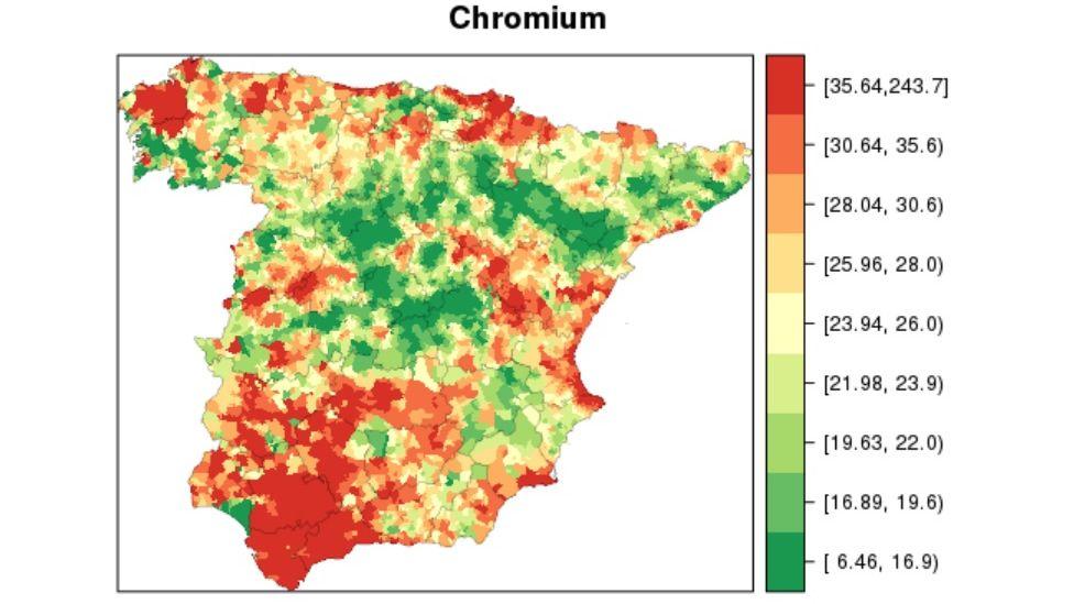 Distribución del cromo en España