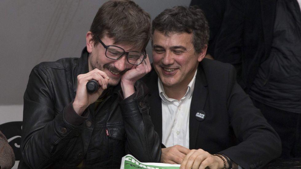 Patrick Pellouz y Luz durante la rueda de prensa en la que presentaron la portada de después del ataque terrorista
