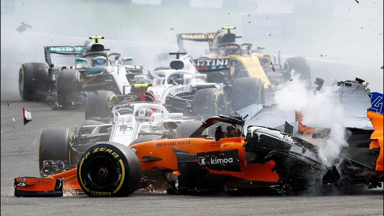 El coche de Alonso, tras el accidente