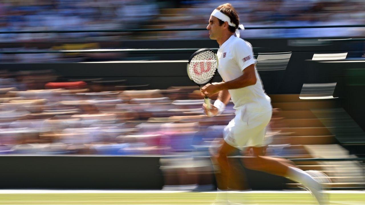 .El tenista Roger Federer, durante el partido de Wimbledon en que venció a Kevin Anderson