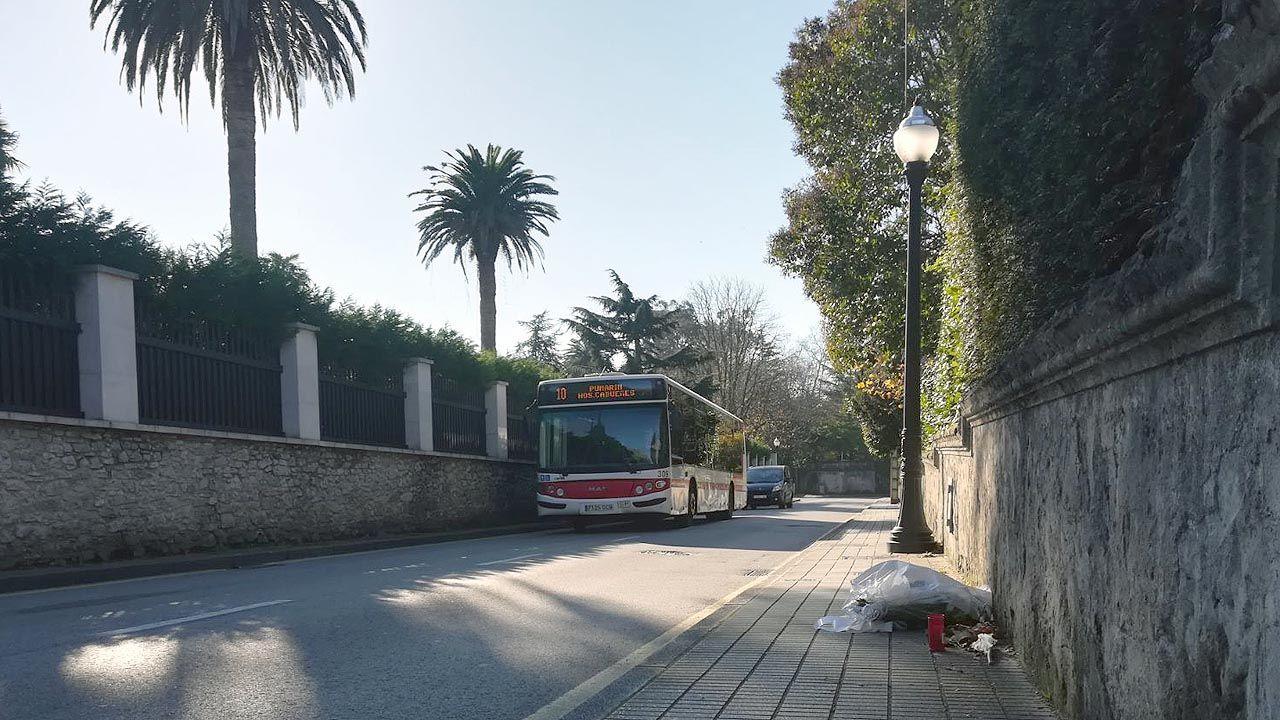 Un ramo de flores reposa en el lugar en el que murió atropellado Juan Fombona, en Somió (Gijón).Un ramo de flores reposa en el lugar en el que murió atropellado Juan Fombona, en Somió (Gijón)