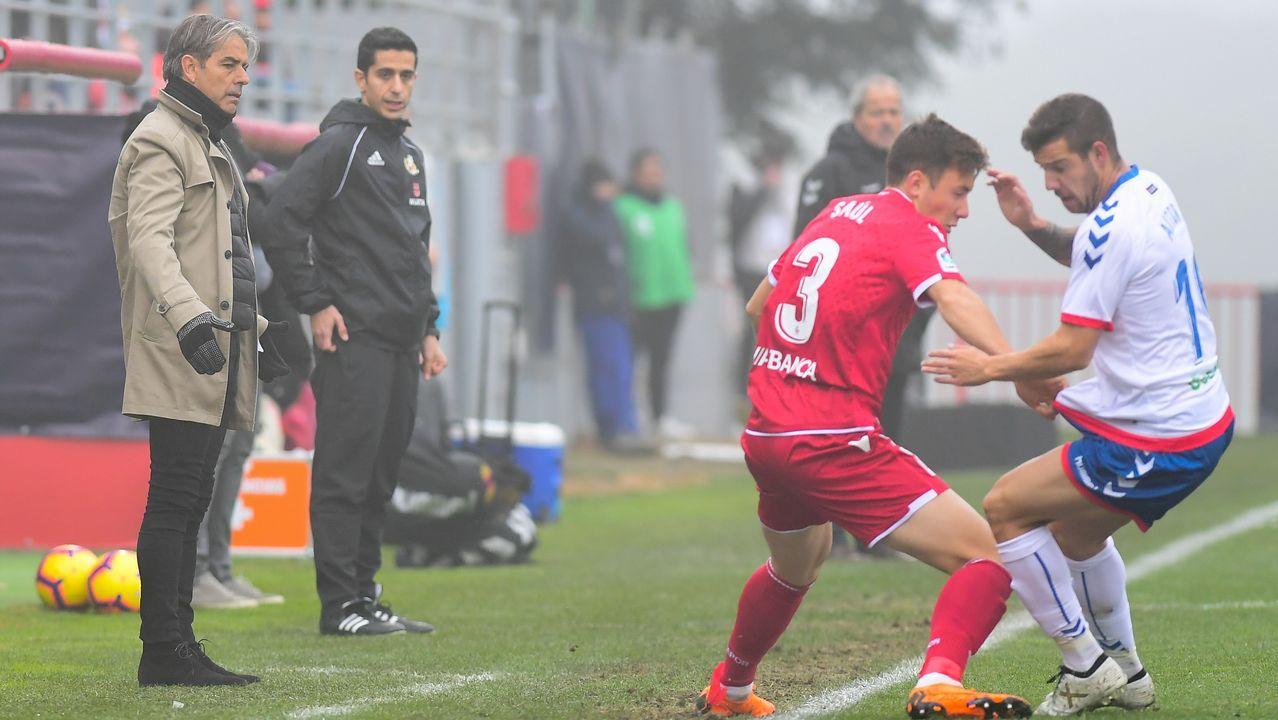 Gol Yoel Barcenas Linares Real Oviedo Reus Carlos Tartiere.Natxo González, en un lance del partido disputado en el Cerro del Espino