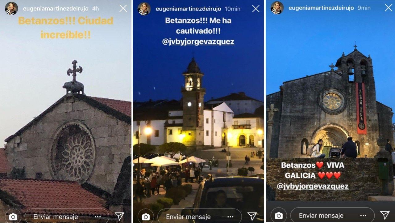 Algunos de los stories que compartió Eugenia Martínez de Irujo de Betanzos