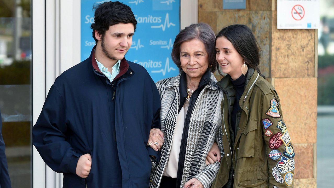 Asíposóla reina Sofía con sus otros nietos