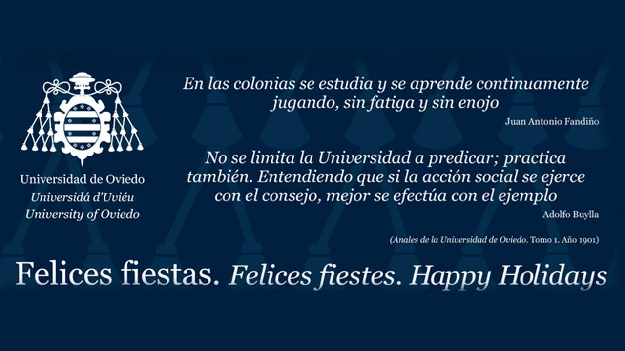 El rector de la Universidad de Oviedo, Santiago García Granda.Felicitación navideña de la Universidad de Oviedo