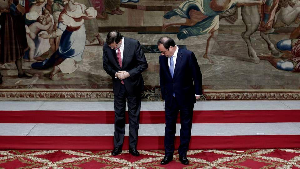 El presidente del Gobierno, Mariano Rajoy, junto con el de Francia, François Hollande.