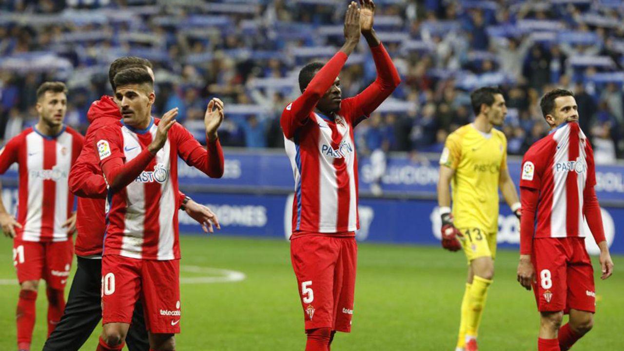 Gol Ibra Ibrahima Balde Real Oviedo Sporting derbi Carlos Tartiere Folch Joselu Javi Hernandez.Derbi en el Carlos Tartiere entre el Oviedo y el Sporting, temporada 2018-2019