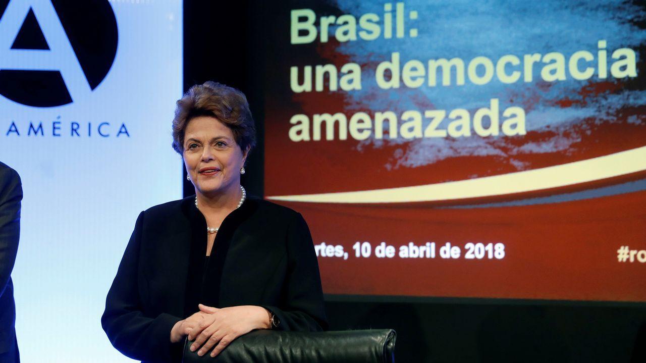 La expresidenta de Brasil Dilma Rousseff, durante su intervención hoy en la conferencia  Brasil: una democracia amenazada , organizada por la Casa de América y la Cátedra de Estudios Iberoamericanos de la Universidad Carlos III y la editorial Tirant lo Blanch
