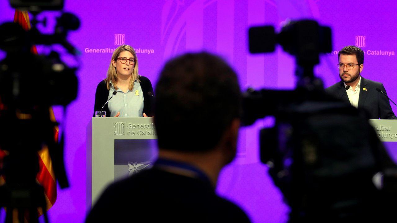 El vicepresidente del Govern i conseller de Economía, Pere Aragonès y la consellera de la Presidencia y portavoz del Govern, Elsa Artadi