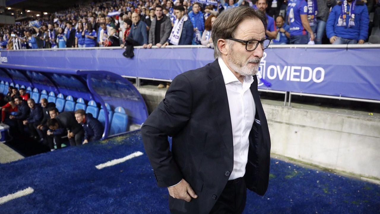 Juan Antonio Anquela antes del Oviedo-Sporting